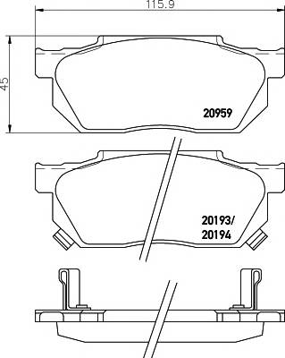 Тормозные колодки 21351/14,8мм Тормозные колодки PAGID ABE арт. T0008