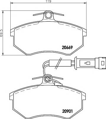 Тормозные колодки 20901/19,6мм Тормозные колодки PAGID PAGID арт. T5009