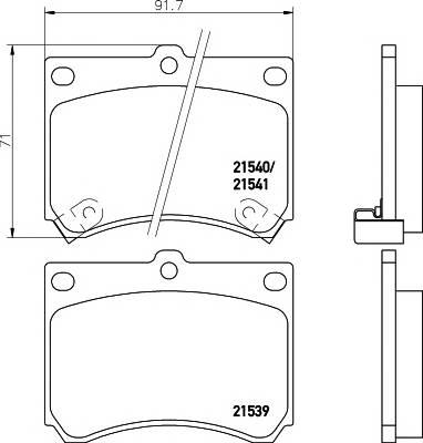 Тормозные колодки 21541/15,0мм Тормозные колодки PAGID PAGID арт. T0399