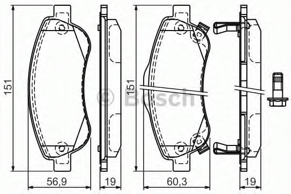 Тормозные колодки Тормозные колодки Bosch ABE арт. 0986494379