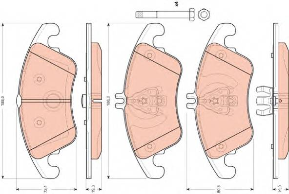 Тормозные колодки Тормозные колодки дисковые ABE арт. GDB1737