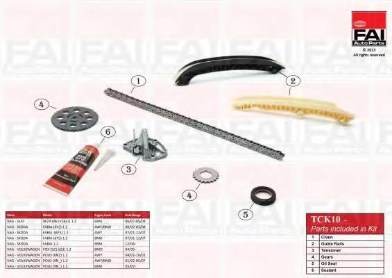 К-кт ланцюга приводу р/вала Skoda Fabia 1.2 01-/VW Polo 1.2 05- (з шестернями і герметиком) FAIAUTOPARTS TCK10