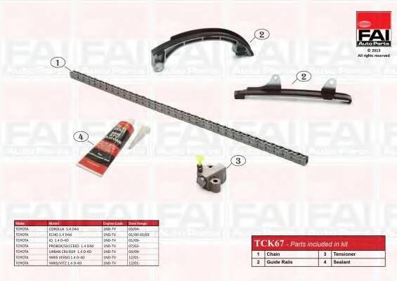 К-кт ланцюга приводу р/вала Subaru Trezia 1.4D 11-/Toyota Corolla 04-/Yaris 1.4 01-(Ланцюг,натяжник,2лижі, герметик) FAIAUTOPARTS TCK67