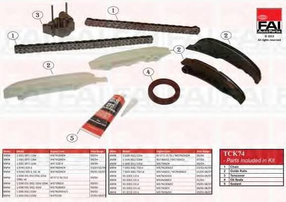 К-кт ланцюга приводу р/вала BMW 3 (E46) 320D 01-/5 530d 03-/X3 3.0D 04- (2ланцюга+натяжник+4 лижі+герметик+ сальник) FAIAUTOPARTS TCK74