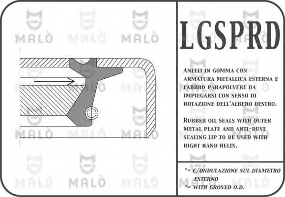 Сальник первичного вала КПП Fiat Doblo 1.3MJTD 16v 2004-2011/Doblo 1.2i 8v 2000-2005 22.8*40*6/8.5 MALO 13509PRDA