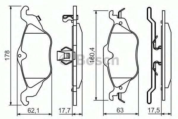Тормозные колодки Тормозные колодки Bosch PAGID арт. 0986424456