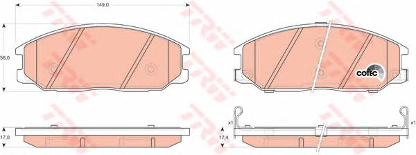 Тормозные колодки Тормозные колодки дисковые PAGID арт. GDB3297