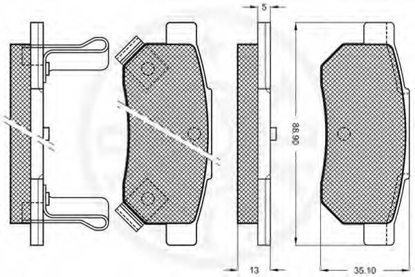Тормозные колодки Тормозные колодки OPTIMAL арт. 9572