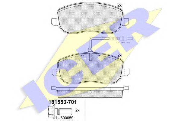 Тормозные колодки Тормозные колодки дисковые ABE арт. 181553701