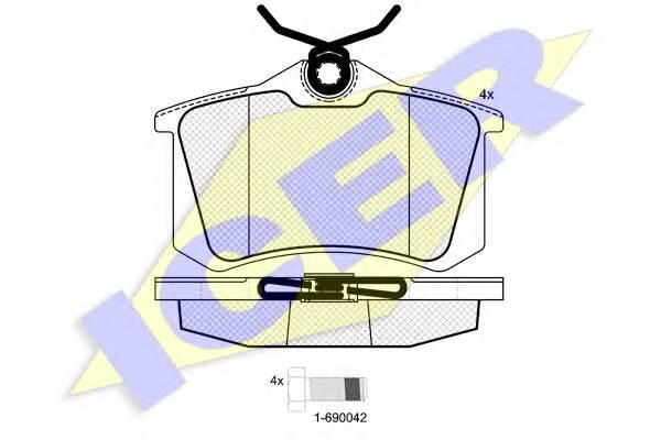 Тормозные колодки Тормозные колодки дисковые ICER арт. 180697700