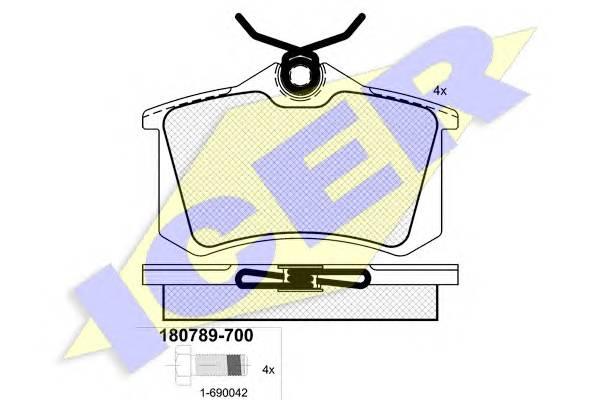 Тормозные колодки Тормозные колодки дисковые ICER арт. 180789700
