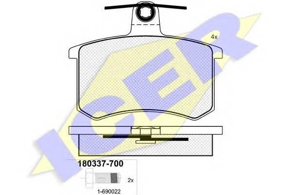 Тормозные колодки Тормозные колодки дисковые ICER арт. 180337700