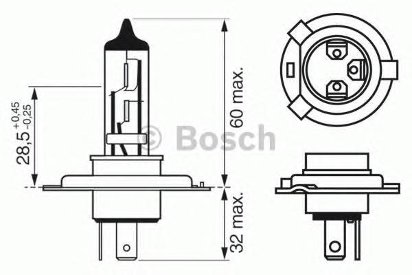 Лампа H4 12V 60/55W P43t Xenon Blue BOSCH 1987302045
