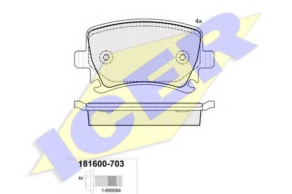Тормозные колодки Тормозные колодки дисковые PAGID арт. 181600703