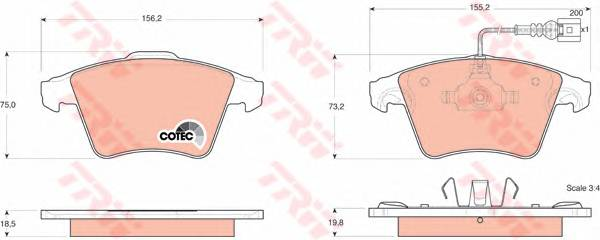 Тормозные колодки Тормозные колодки дисковые PAGID арт. GDB1555