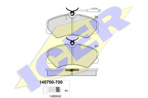 Тормозные колодки Тормозные колодки дисковые ABE арт. 140700700