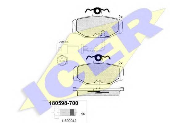 Тормозные колодки Тормозные колодки дисковые PAGID арт. 180598700
