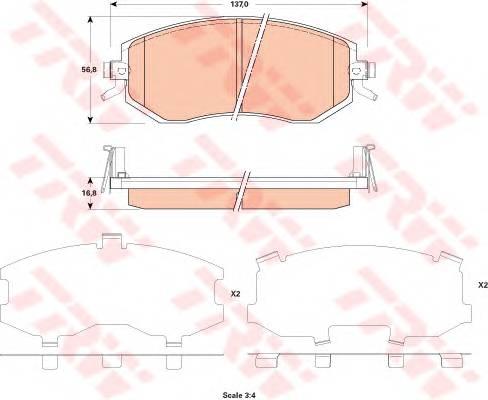 Тормозные колодки Тормозные колодки дисковые PAGID арт. GDB3519