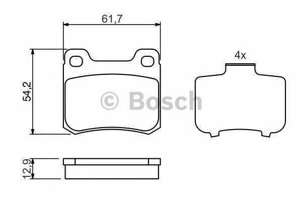 Тормозные колодки Тормозные колодки дисковые задние DB W124/202 BOSCH арт. 0986466874
