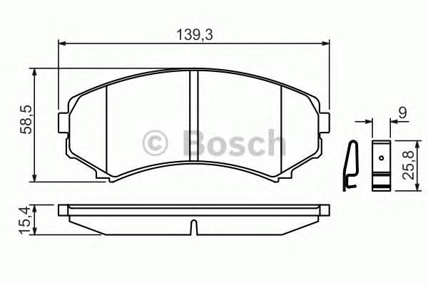 Тормозные колодки Тормозные колодки Bosch ABE арт. 0986424709