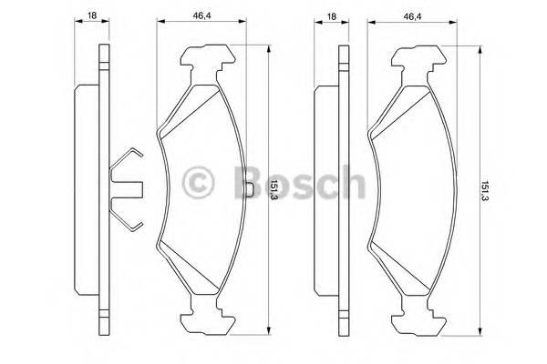 Тормозные колодки Тормозные колодки дисковые передние FORD Escort, Fiesta -00 BOSCH арт. 0986466402