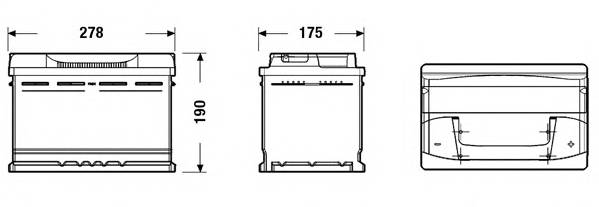 Аккумулятор TUDOR Technica 74 А/ч TB740 ОБР. 278x175x190 EN 680 TUDOR TB740