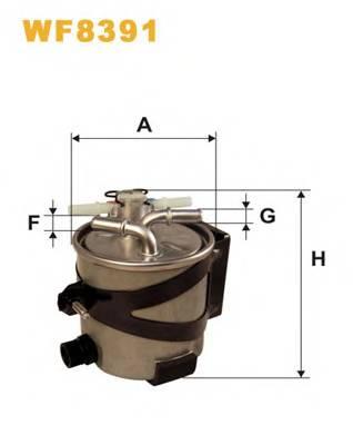 Фильтр топливный (под датчик воды, с клапаном) Megane2/Scenic2 K9K 09/05-> WIX WF8391