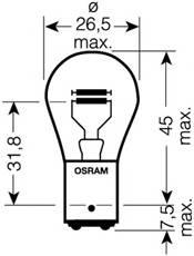 Лампа P21/4W 12V 21/4W BAZ15d OSRAM 7225