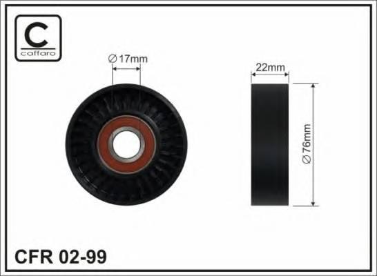 76X17X22 Ролік натяжника паса поліклинового Kia Carnival 2.9TD 98-  CAFFARO 0299