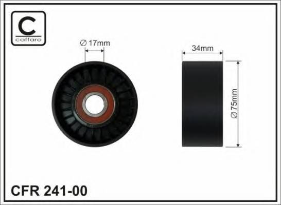 (76x17x34 пластик)Ролiк паска генератора VW Crafter CAFFARO 24100
