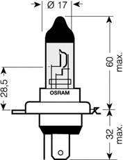 Лампа Osram Cool Blue H4 12v 60/55 P43T (упаковка картон) OSRAM 64193CBI