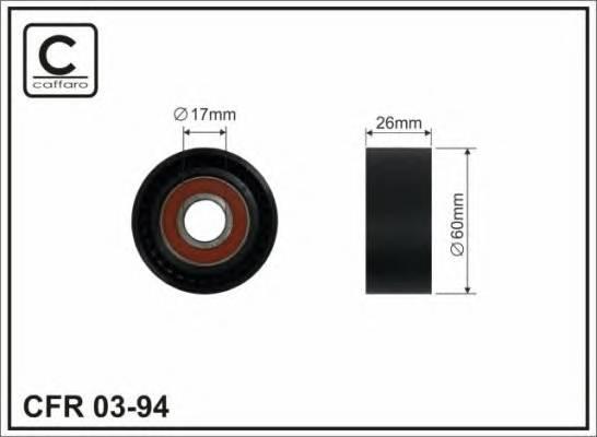 (Ролик 60x17x25 пластик)Натяжник паска Peugeot Bipper, Partner 1.1/1.4/1.4 16V/1.6 16V 06.96-  CAFFARO 0394
