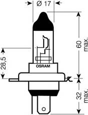 64193-01B_лампа! (H4) 60/55W 12V P43T галогенная стандарт в блистере \