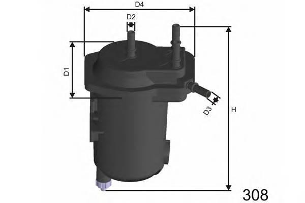 Фільтр (без датчика рівня води) паливний Renault Megane 1.5dCi 02-/Scenic 1.5dCi 03- MISFAT F122