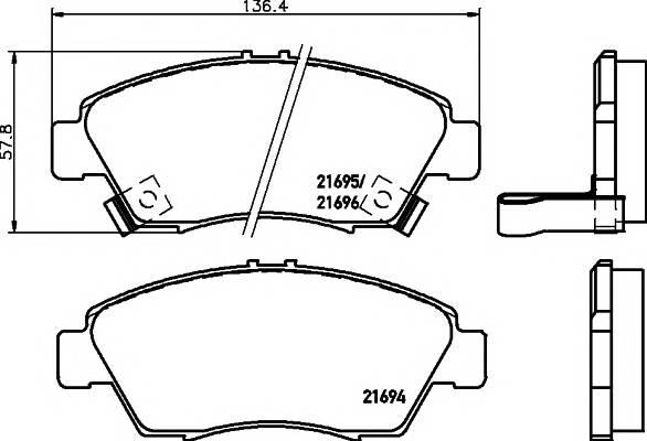Тормозные колодки 21696/16,5мм Тормозные колодки PAGID ABE арт. T3018