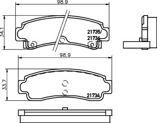 Тормозные колодки 21736/14,0мм Тормозные колодки PAGID PAGID арт. T3045