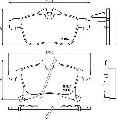 Тормозные колодки 23832 Тормозные колодки PAGID PAGID арт. T1225