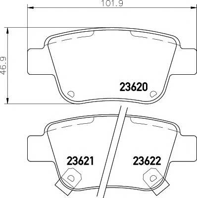 Тормозные колодки 23620/16,6мм Тормозные колодки PAGID PAGID арт. T3130